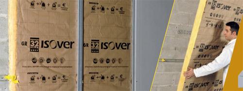 Panneaux roulés de laine de verre semi-rigides pour l'isolation des murs